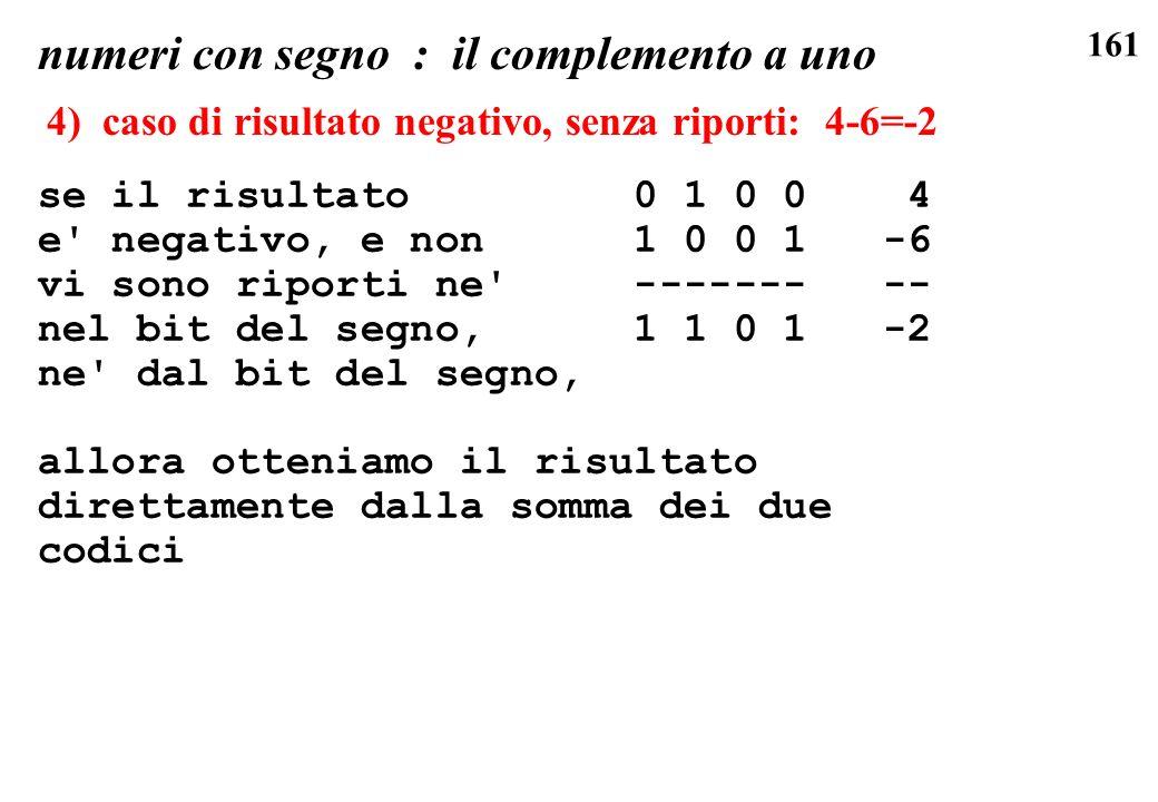 161 se il risultato 0 1 0 0 4 e' negativo, e non 1 0 0 1 -6 vi sono riporti ne' ------- -- nel bit del segno, 1 1 0 1 -2 ne' dal bit del segno, allora