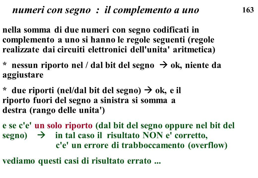 163 numeri con segno : il complemento a uno nella somma di due numeri con segno codificati in complemento a uno si hanno le regole seguenti (regole re