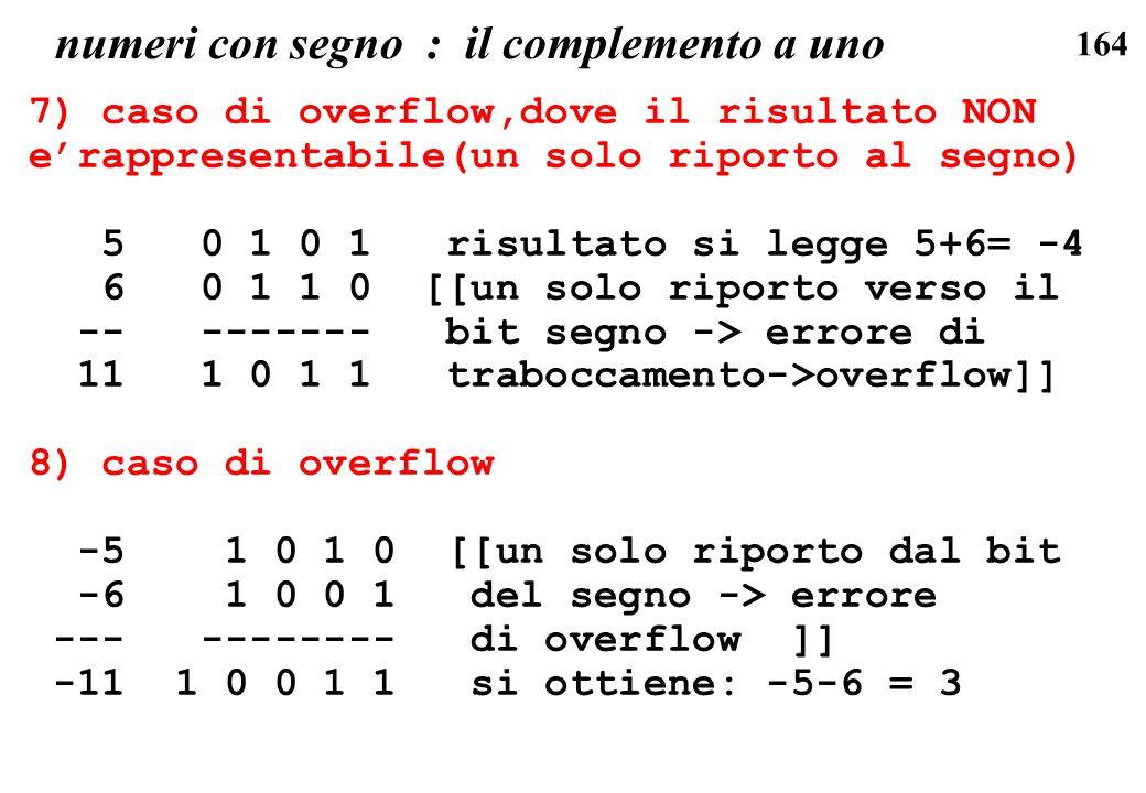164 numeri con segno : il complemento a uno 7) caso di overflow,dove il risultato NON erappresentabile(un solo riporto al segno) 5 0 1 0 1 risultato s