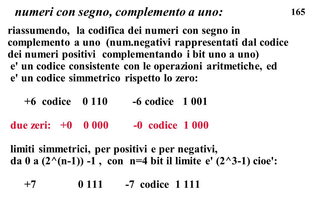 165 numeri con segno, complemento a uno: riassumendo, la codifica dei numeri con segno in complemento a uno (num.negativi rappresentati dal codice dei