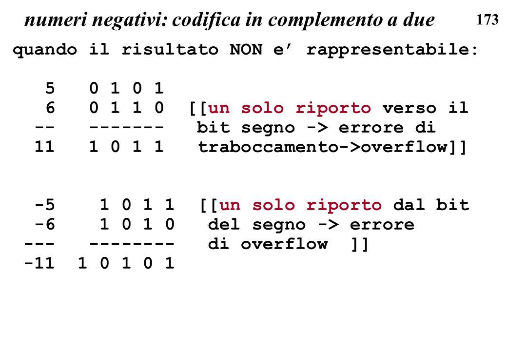 173 numeri negativi: codifica in complemento a due quando il risultato NON e rappresentabile: 5 0 1 0 1 6 0 1 1 0 [[un solo riporto verso il -- ------