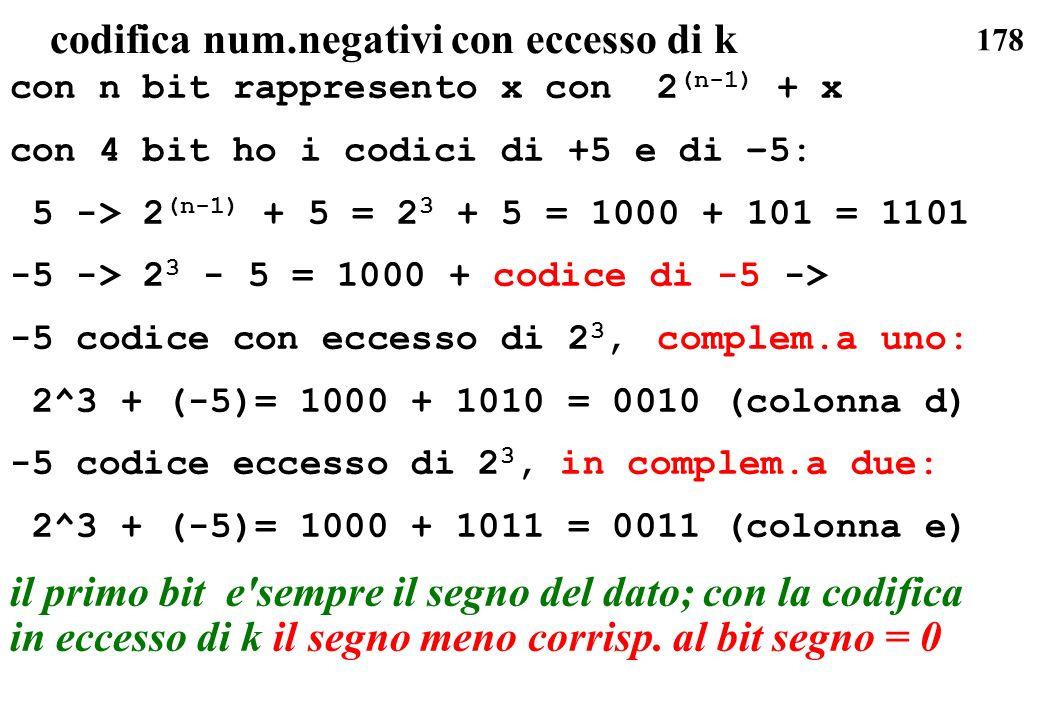 178 codifica num.negativi con eccesso di k con n bit rappresento x con 2 (n-1) + x con 4 bit ho i codici di +5 e di –5: 5 -> 2 (n-1) + 5 = 2 3 + 5 = 1