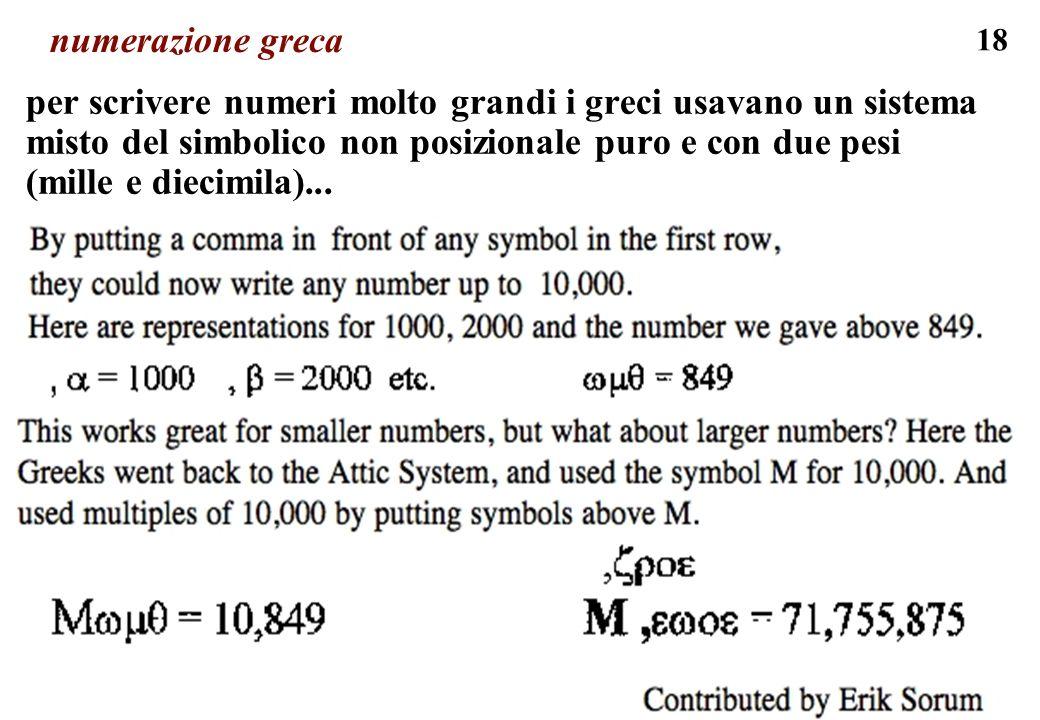 18 numerazione greca per scrivere numeri molto grandi i greci usavano un sistema misto del simbolico non posizionale puro e con due pesi (mille e diec