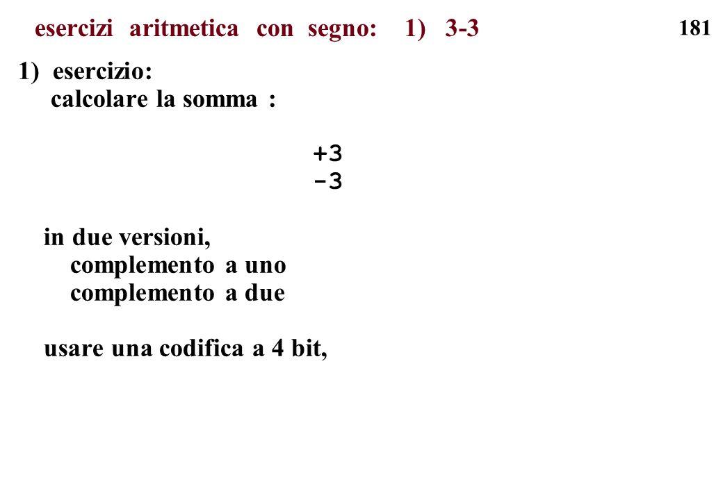 181 esercizi aritmetica con segno: 1) 3-3 1) esercizio: calcolare la somma : +3 -3 in due versioni, complemento a uno complemento a due usare una codi