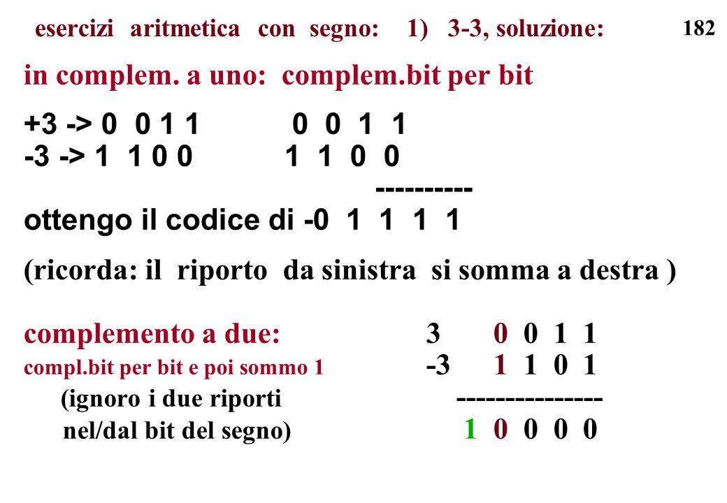182 in complem. a uno: complem.bit per bit +3 -> 0 0 1 1 0 0 1 1 -3 -> 1 1 0 0 1 1 0 0 ---------- ottengo il codice di -0 1 1 1 1 (ricorda: il riporto
