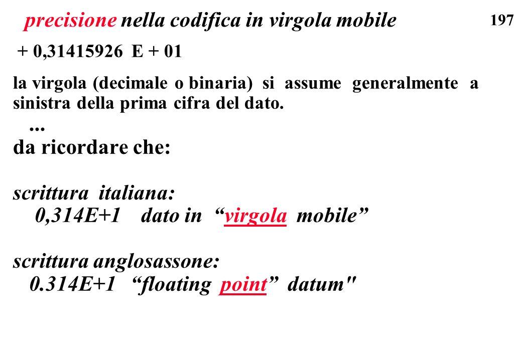 197 precisione nella codifica in virgola mobile + 0,31415926 E + 01 la virgola (decimale o binaria) si assume generalmente a sinistra della prima cifr
