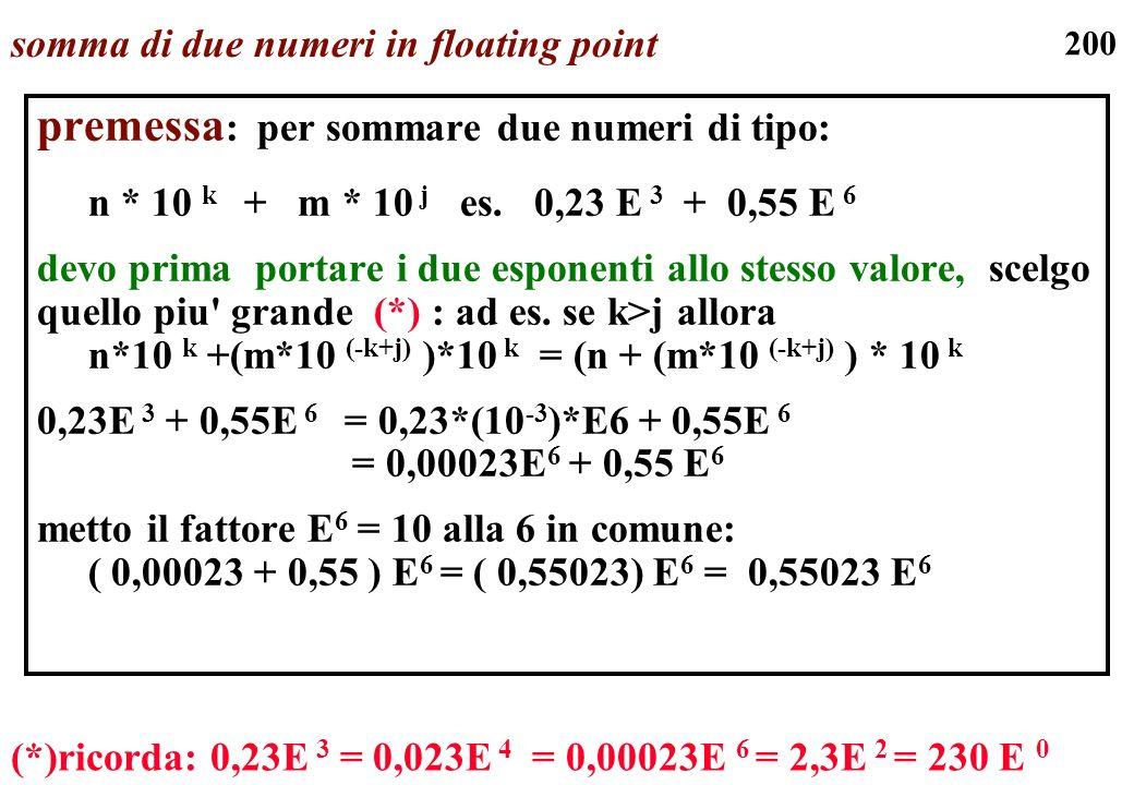 200 somma di due numeri in floating point premessa : per sommare due numeri di tipo: n * 10 k + m * 10 j es. 0,23 E 3 + 0,55 E 6 devo prima portare i