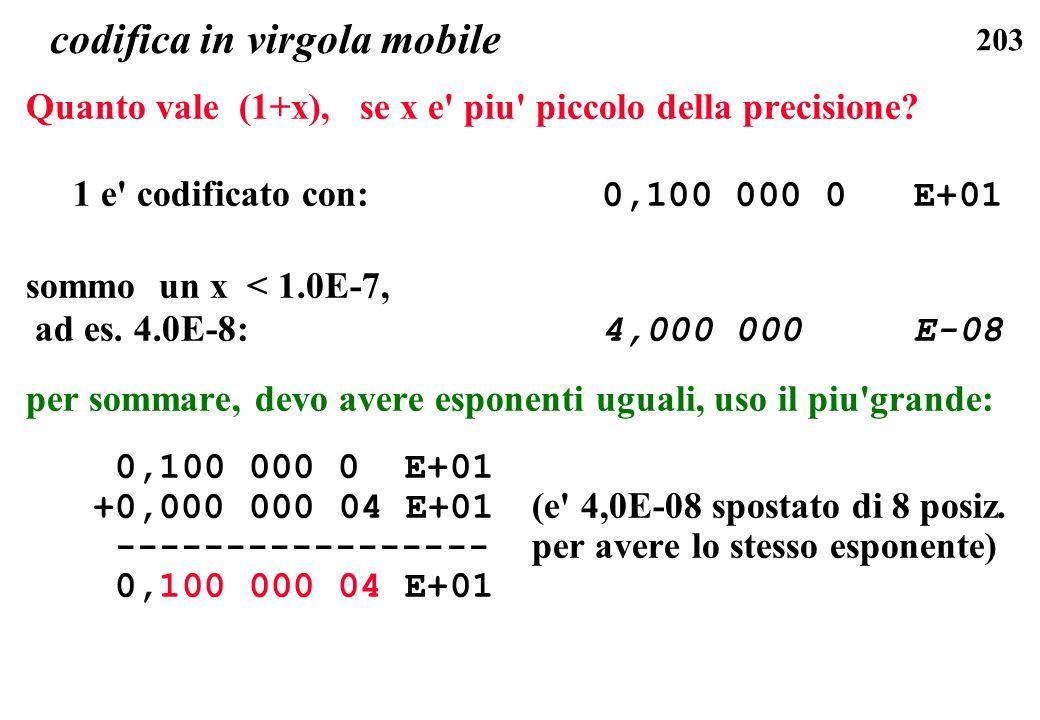 203 codifica in virgola mobile Quanto vale (1+x), se x e' piu' piccolo della precisione? 1 e' codificato con: 0,100 000 0 E+01 sommo un x < 1.0E-7, ad