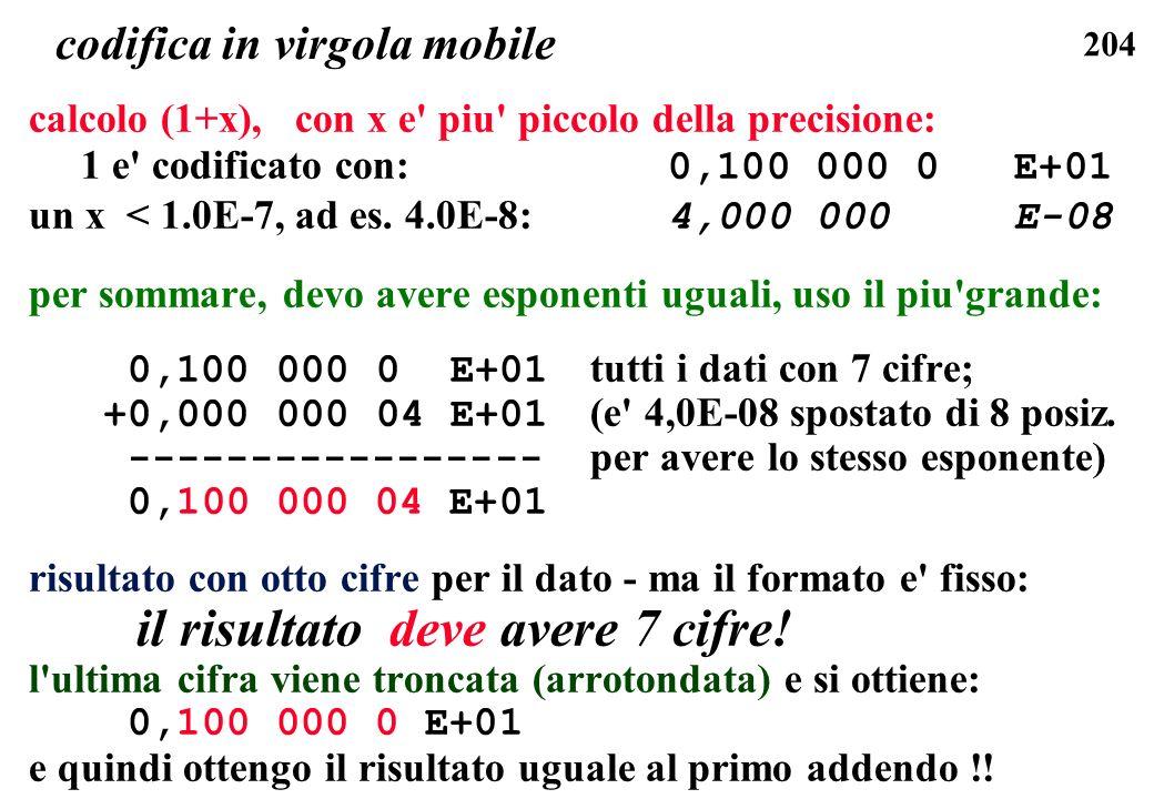 204 codifica in virgola mobile calcolo (1+x), con x e' piu' piccolo della precisione: 1 e' codificato con: 0,100 000 0 E+01 un x < 1.0E-7, ad es. 4.0E