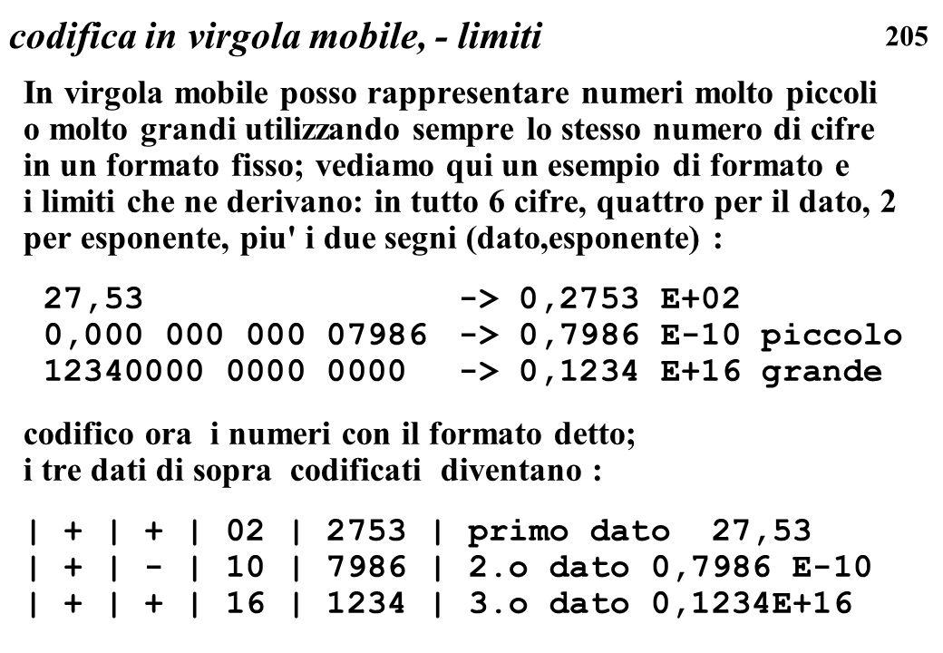205 codifica in virgola mobile, - limiti In virgola mobile posso rappresentare numeri molto piccoli o molto grandi utilizzando sempre lo stesso numero