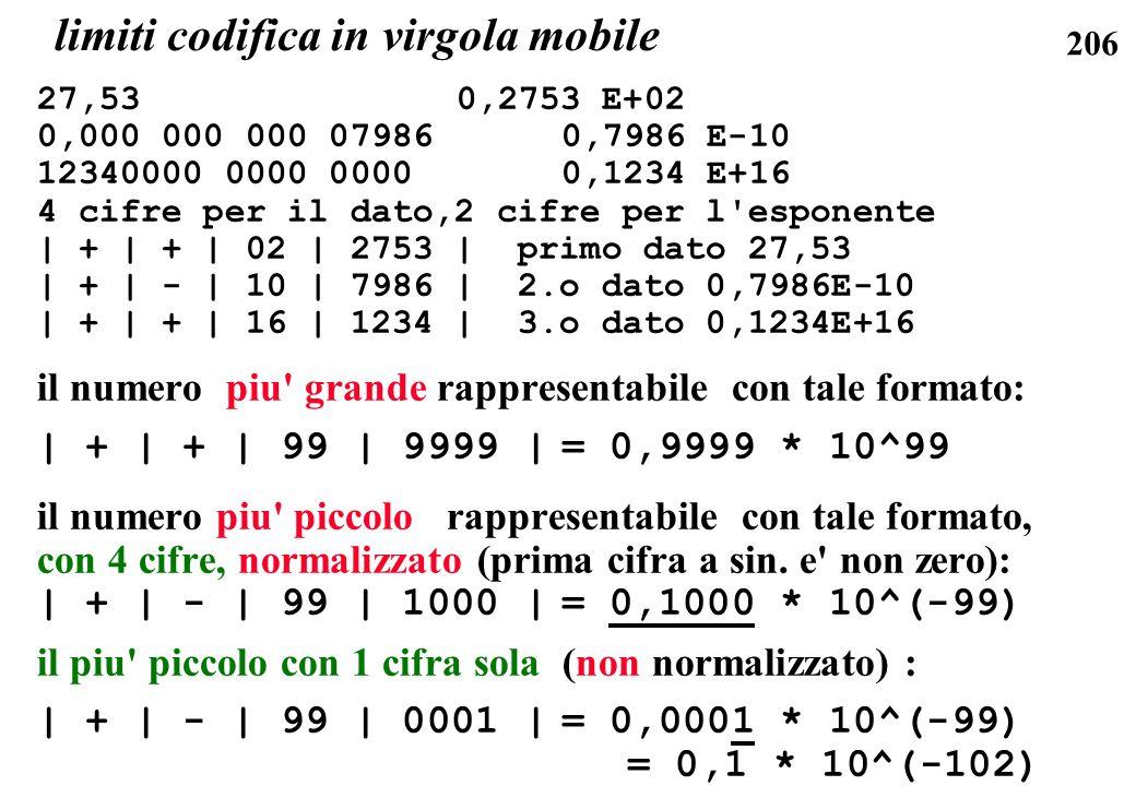 206 27,53 0,2753 E+02 0,000 000 000 07986 0,7986 E-10 12340000 0000 0000 0,1234 E+16 4 cifre per il dato,2 cifre per l'esponente | + | + | 02 | 2753 |