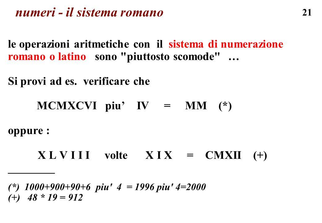 21 numeri - il sistema romano le operazioni aritmetiche con il sistema di numerazione romano o latino sono