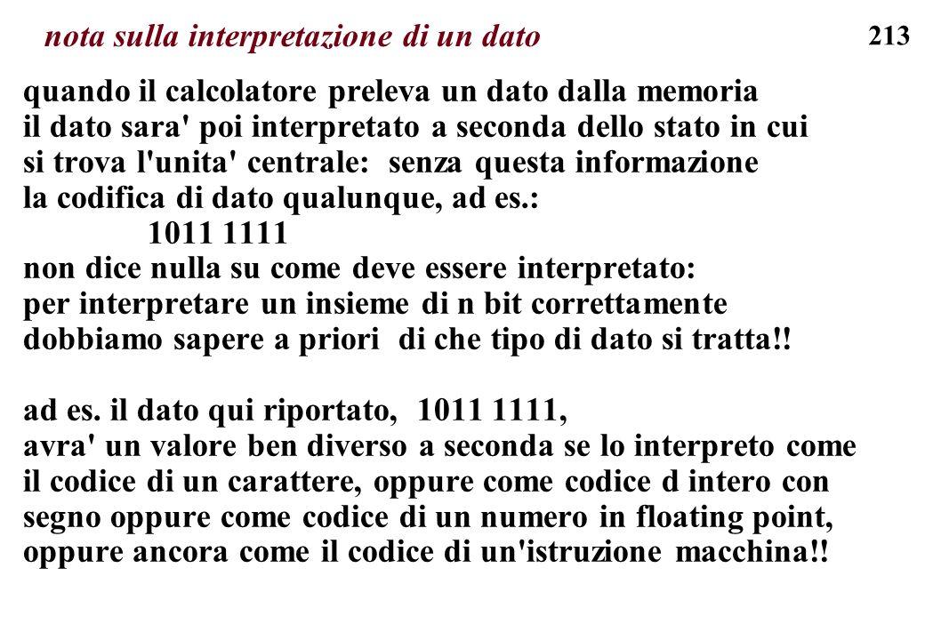 213 nota sulla interpretazione di un dato quando il calcolatore preleva un dato dalla memoria il dato sara' poi interpretato a seconda dello stato in