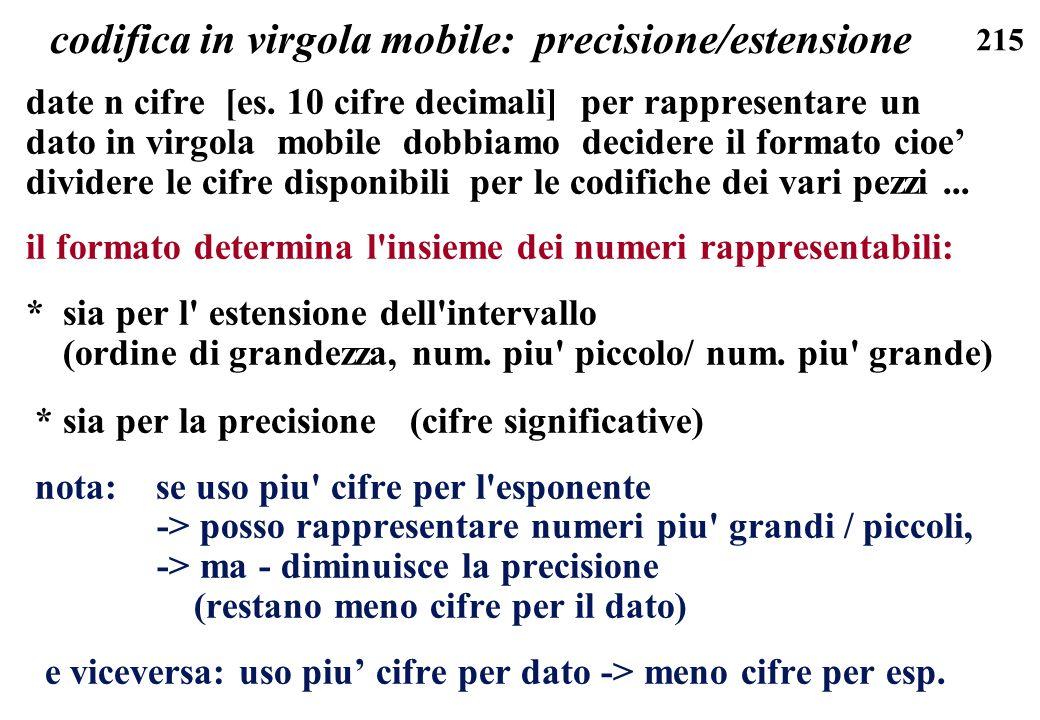 215 codifica in virgola mobile: precisione/estensione date n cifre [es. 10 cifre decimali] per rappresentare un dato in virgola mobile dobbiamo decide