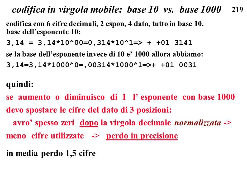 219 codifica in virgola mobile: base 10 vs. base 1000 codifica con 6 cifre decimali, 2 espon, 4 dato, tutto in base 10, base dellesponente 10: 3,14 =