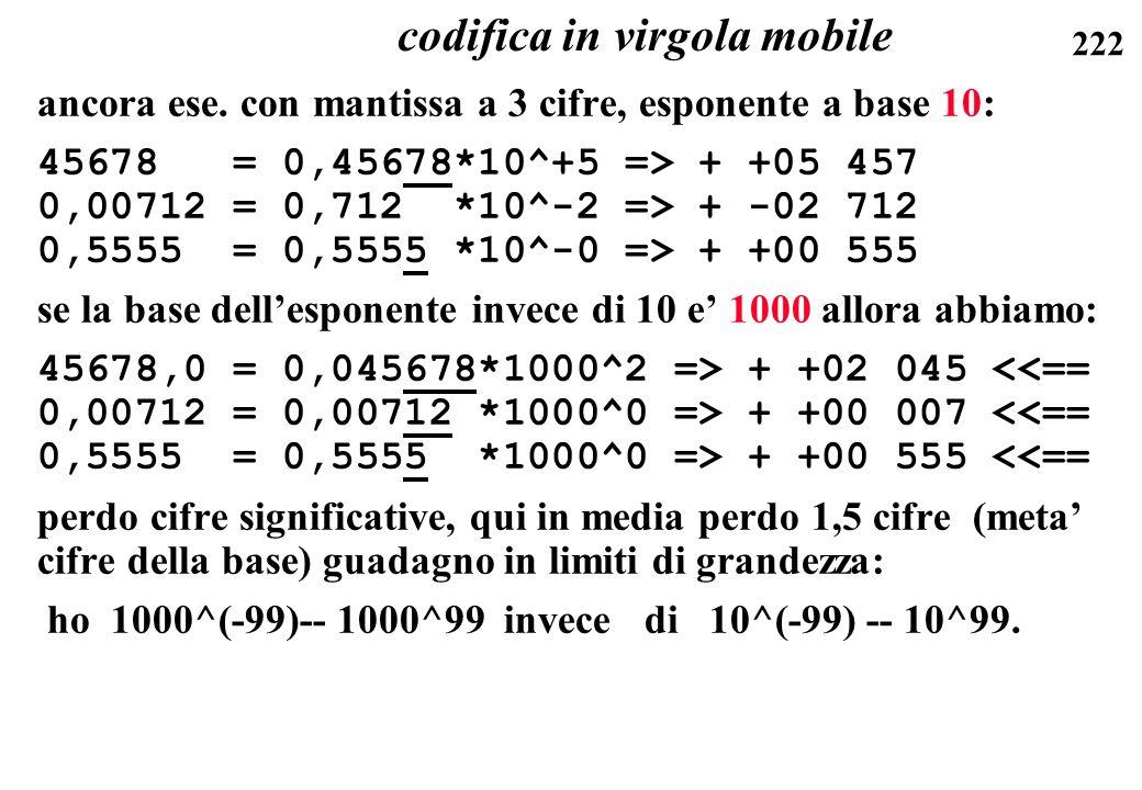 222 ancora ese. con mantissa a 3 cifre, esponente a base 10: 45678 = 0,45678*10^+5 => + +05 457 0,00712 = 0,712 *10^-2 => + -02 712 0,5555 = 0,5555 *1