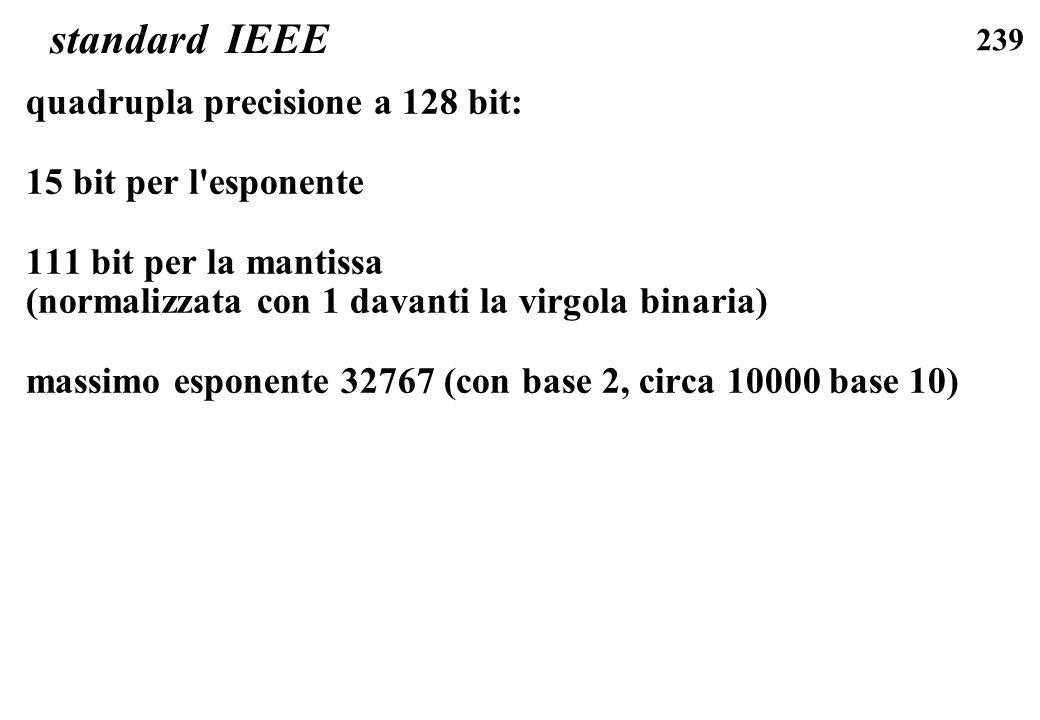 239 standard IEEE quadrupla precisione a 128 bit: 15 bit per l'esponente 111 bit per la mantissa (normalizzata con 1 davanti la virgola binaria) massi