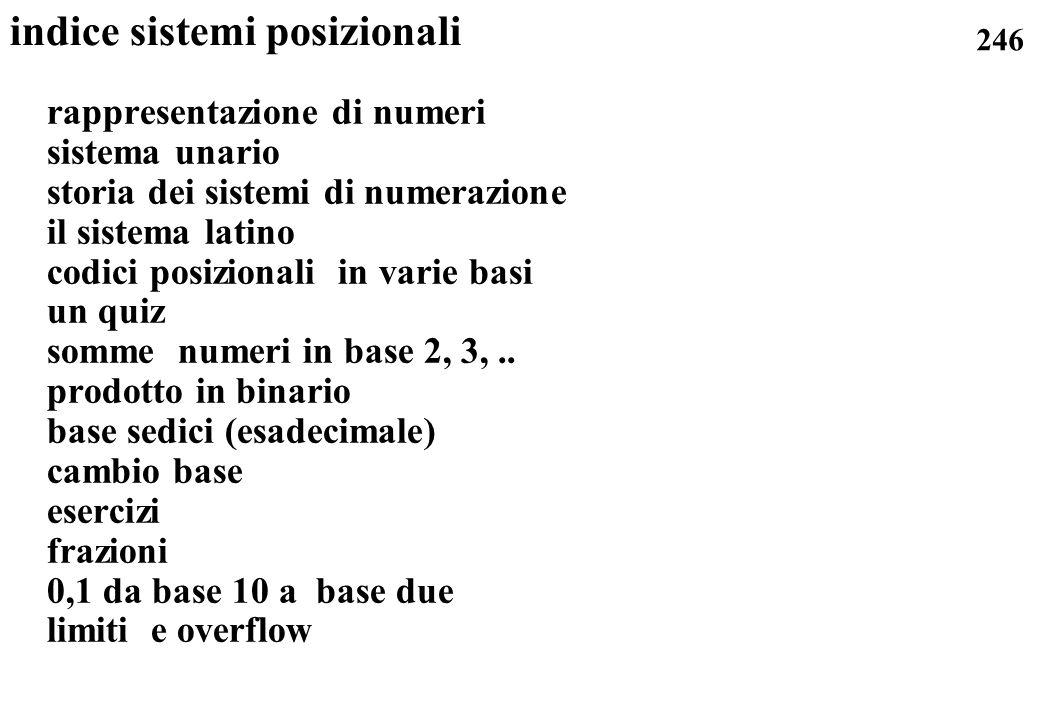 246 indice sistemi posizionali rappresentazione di numeri sistema unario storia dei sistemi di numerazione il sistema latino codici posizionali in var