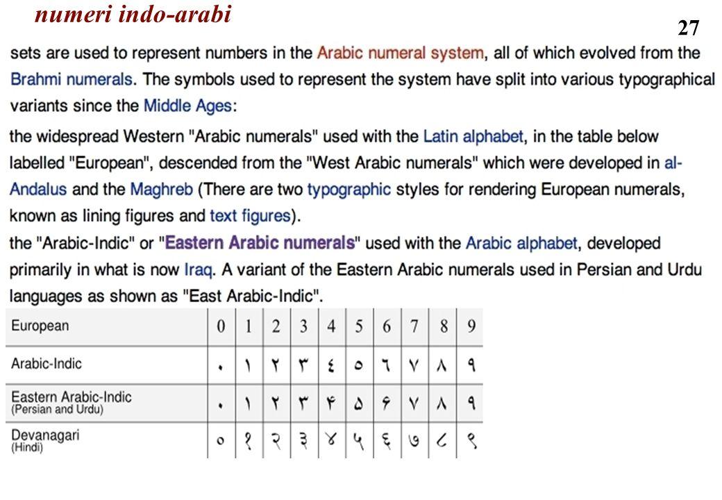 27 numeri indo-arabi