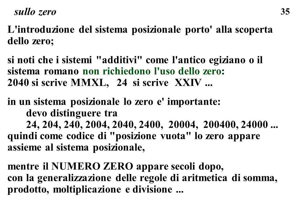 35 sullo zero L'introduzione del sistema posizionale porto' alla scoperta dello zero; si noti che i sistemi