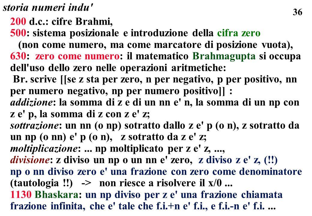 36 storia numeri indu' 200 d.c.: cifre Brahmi, 500: sistema posizionale e introduzione della cifra zero (non come numero, ma come marcatore di posizio
