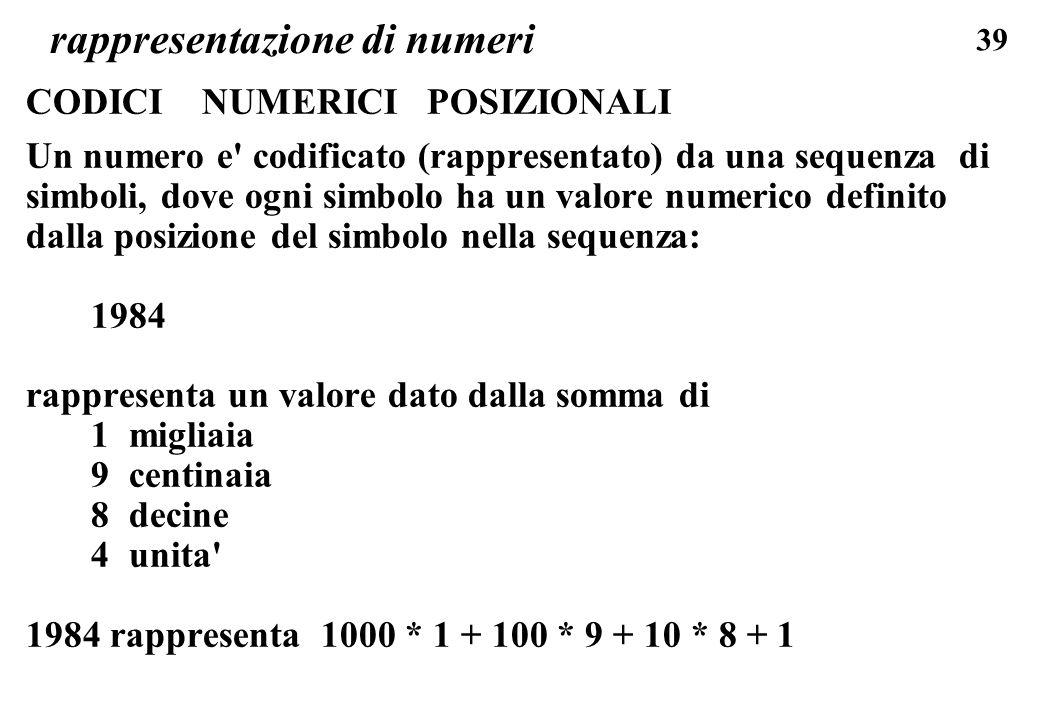 39 rappresentazione di numeri CODICI NUMERICI POSIZIONALI Un numero e' codificato (rappresentato) da una sequenza di simboli, dove ogni simbolo ha un