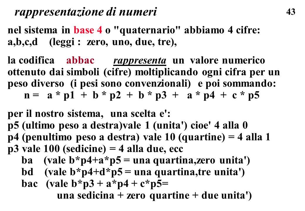 43 rappresentazione di numeri nel sistema in base 4 o