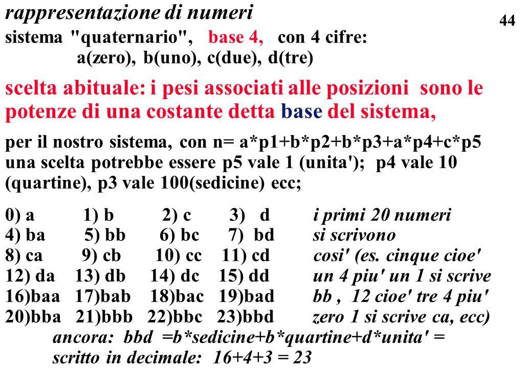 44 rappresentazione di numeri sistema