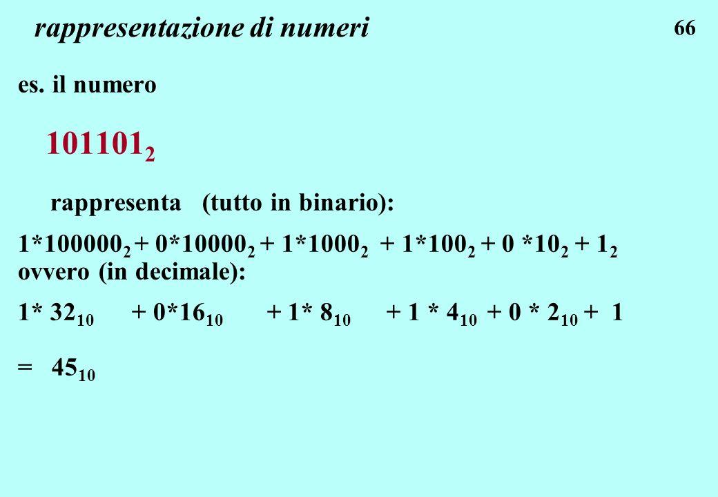 66 rappresentazione di numeri es. il numero 101101 2 rappresenta (tutto in binario): 1*100000 2 + 0*10000 2 + 1*1000 2 + 1*100 2 + 0 *10 2 + 1 2 ovver