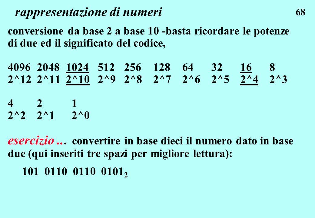 68 rappresentazione di numeri conversione da base 2 a base 10 -basta ricordare le potenze di due ed il significato del codice, 4096 2048 1024 512 256