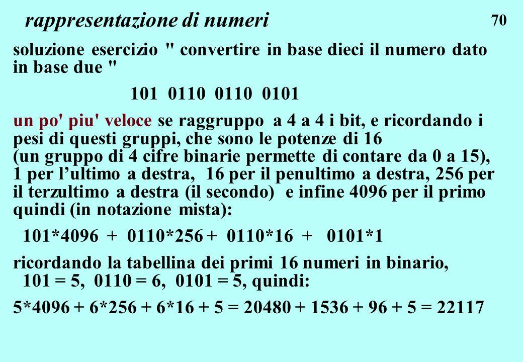 70 rappresentazione di numeri soluzione esercizio