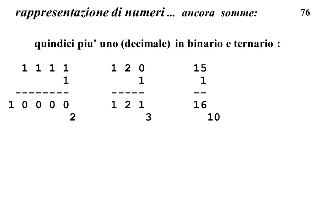76 rappresentazione di numeri... ancora somme: quindici piu' uno (decimale) in binario e ternario : 1 1 1 1 1 2 0 15 1 1 1 -------- ----- -- 1 0 0 0 0