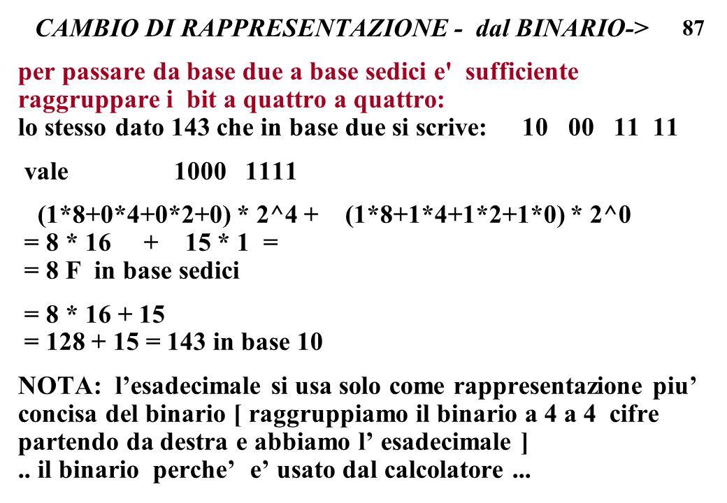 87 CAMBIO DI RAPPRESENTAZIONE - dal BINARIO-> per passare da base due a base sedici e' sufficiente raggruppare i bit a quattro a quattro: lo stesso da