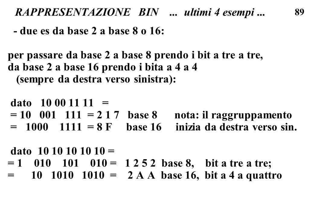 89 RAPPRESENTAZIONE BIN... ultimi 4 esempi... - due es da base 2 a base 8 o 16: per passare da base 2 a base 8 prendo i bit a tre a tre, da base 2 a b