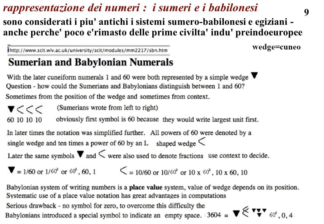 9 rappresentazione dei numeri : i sumeri e i babilonesi sono considerati i piu' antichi i sistemi sumero-babilonesi e egiziani - anche perche' poco e'