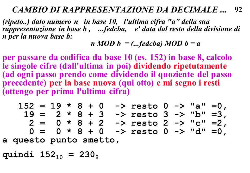 92 CAMBIO DI RAPPRESENTAZIONE DA DECIMALE... (ripeto..) dato numero n in base 10, l'ultima cifra