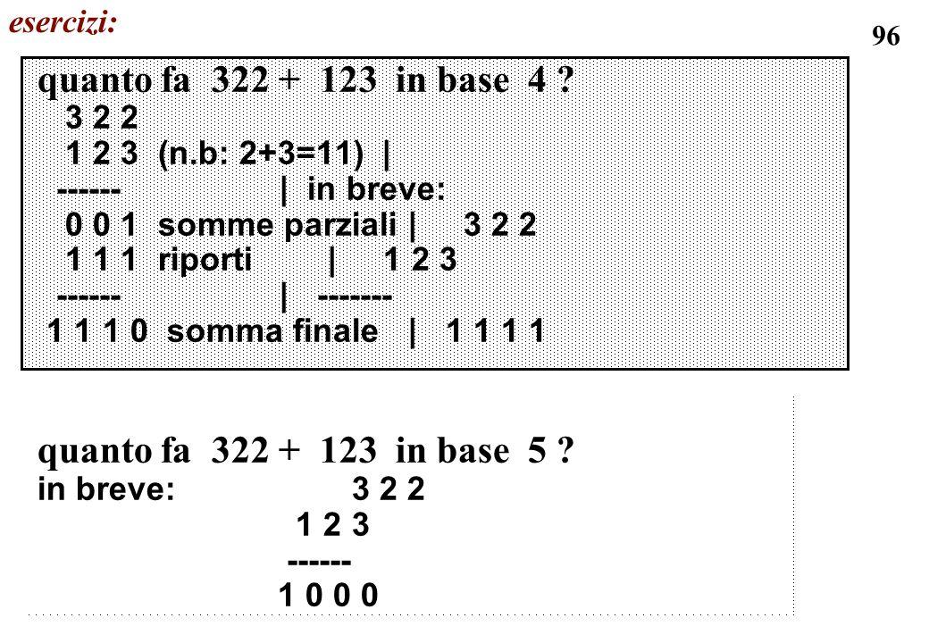 96 quanto fa 322 + 123 in base 4 ? 3 2 2 1 2 3 (n.b: 2+3=11) | ------ | in breve: 0 0 1 somme parziali | 3 2 2 1 1 1 riporti | 1 2 3 ------ | -------