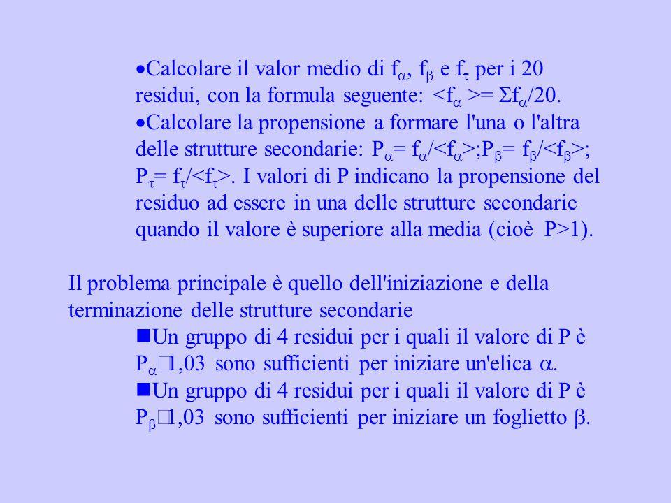Calcolare il valor medio di f, f e f per i 20 residui, con la formula seguente: = f /20. Calcolare la propensione a formare l'una o l'altra delle stru
