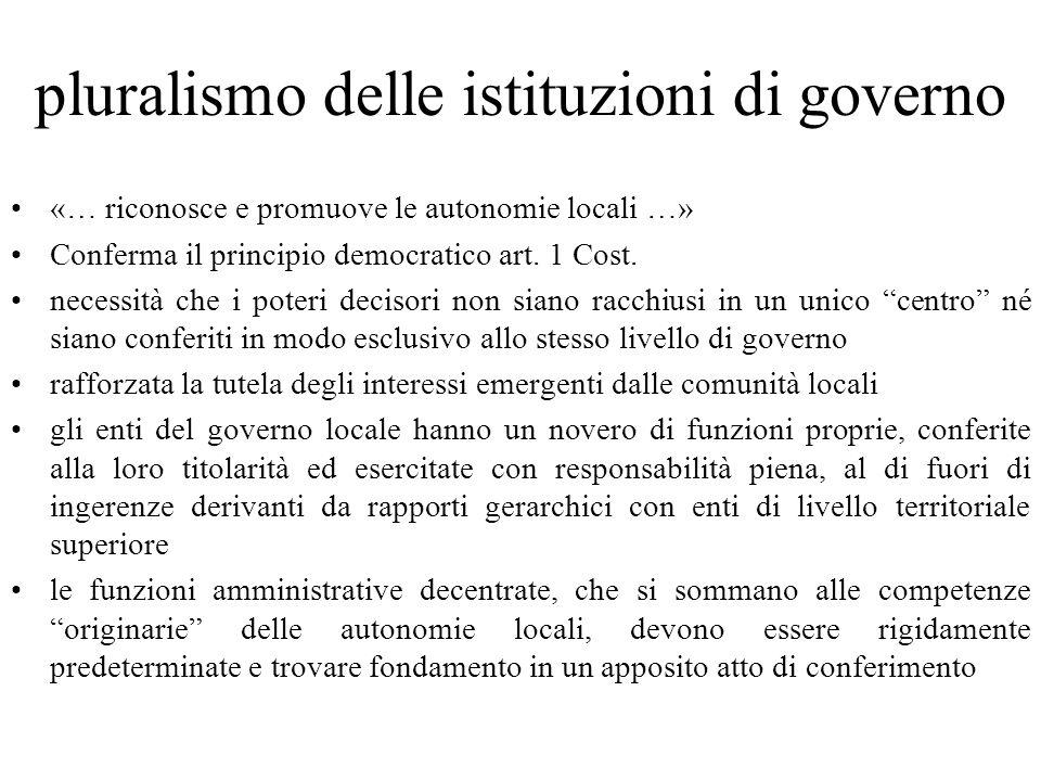 pluralismo delle istituzioni di governo «… riconosce e promuove le autonomie locali …» Conferma il principio democratico art. 1 Cost. necessità che i