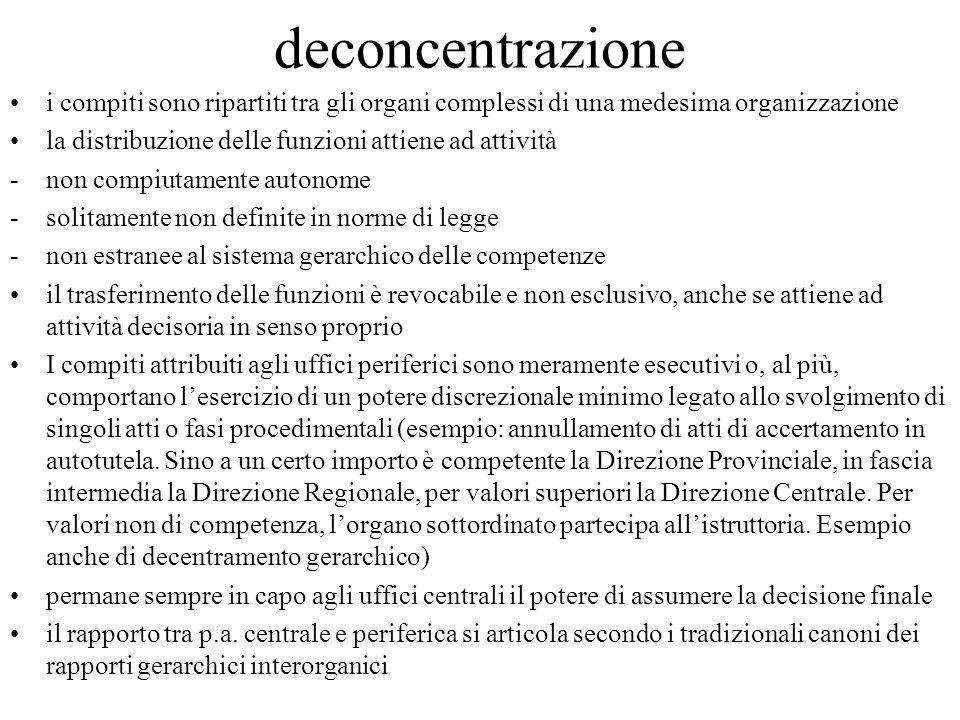 deconcentrazione i compiti sono ripartiti tra gli organi complessi di una medesima organizzazione la distribuzione delle funzioni attiene ad attività