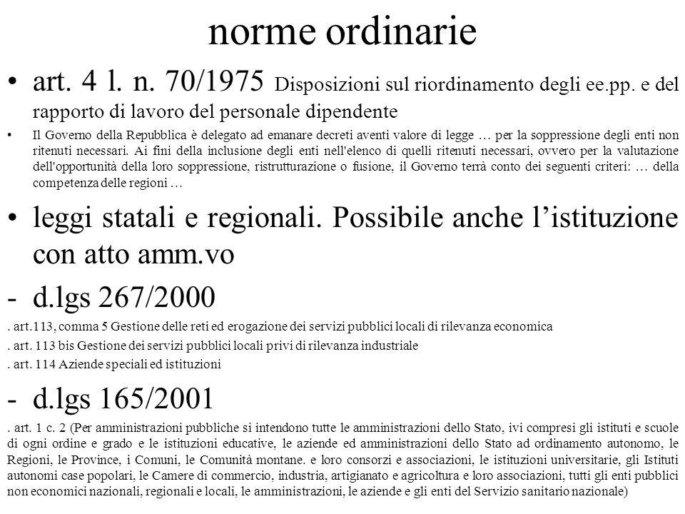 norme ordinarie art. 4 l. n. 70/1975 Disposizioni sul riordinamento degli ee.pp. e del rapporto di lavoro del personale dipendente Il Governo della Re