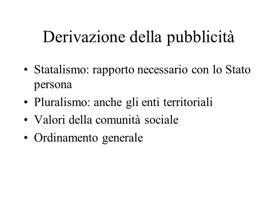 Derivazione della pubblicità Statalismo: rapporto necessario con lo Stato persona Pluralismo: anche gli enti territoriali Valori della comunità social