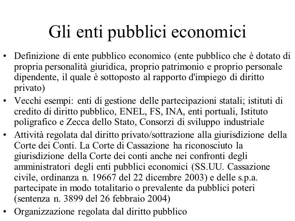 Gli enti pubblici economici Definizione di ente pubblico economico (ente pubblico che è dotato di propria personalità giuridica, proprio patrimonio e