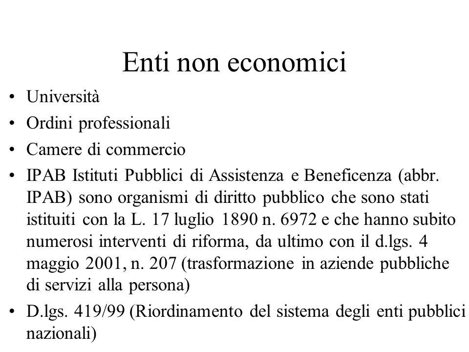 Enti non economici Università Ordini professionali Camere di commercio IPAB Istituti Pubblici di Assistenza e Beneficenza (abbr. IPAB) sono organismi