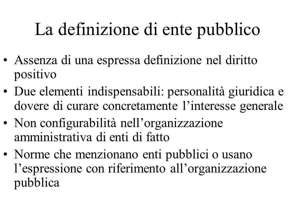 La definizione di ente pubblico Assenza di una espressa definizione nel diritto positivo Due elementi indispensabili: personalità giuridica e dovere d