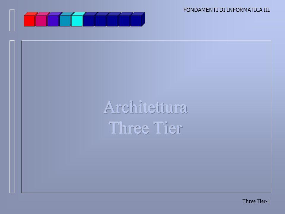 FONDAMENTI DI INFORMATICA III Three Tier-2 Three Tier I livelli Visione base di un programma Input, elaborazione, output Layer (livello): strato di software che contiene i servizi orientati ad un obiettivo Livelli Presentazione Logica di business Livello dei dati
