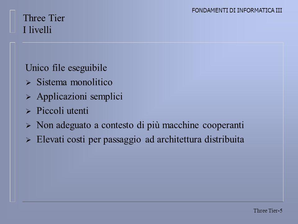FONDAMENTI DI INFORMATICA III Three Tier-16 Controllore Regola il flusso dellapplicazione Presentazione Genera dinamicamente i dati da visualizzare al client come risultato dellelaborazione Three Tier Architettura a n-Tier
