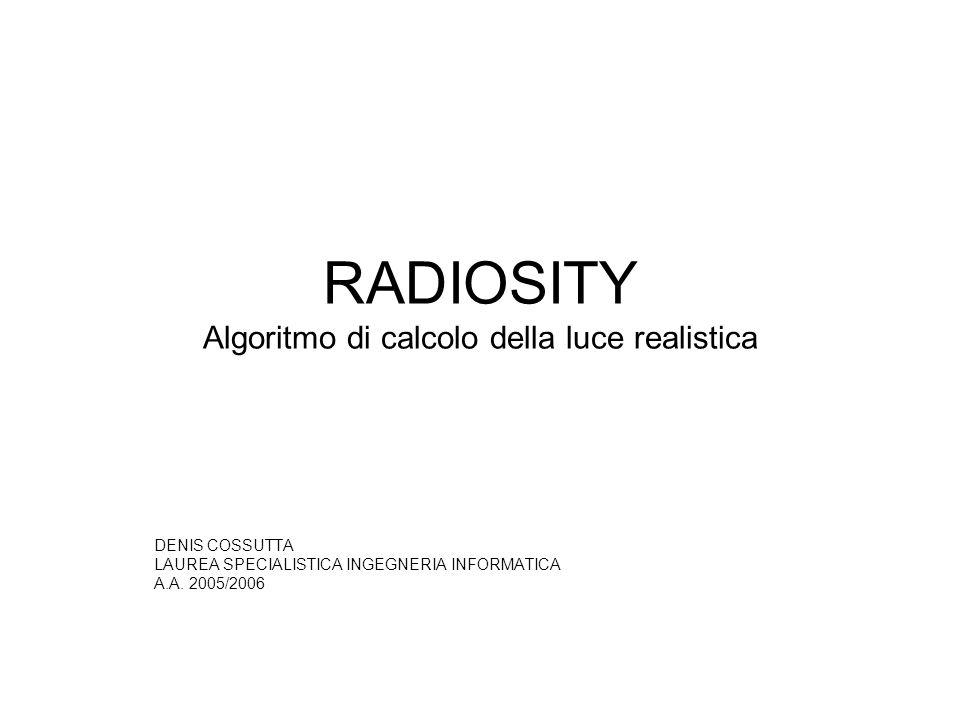 RADIOSITY Algoritmo di calcolo della luce realistica DENIS COSSUTTA LAUREA SPECIALISTICA INGEGNERIA INFORMATICA A.A. 2005/2006