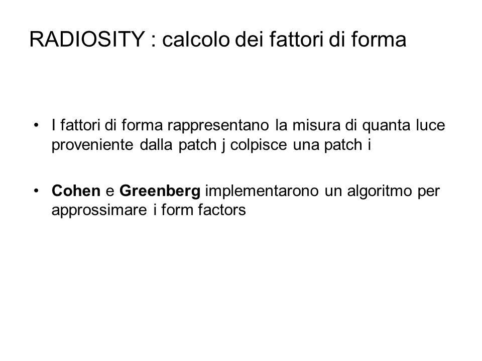 RADIOSITY : calcolo dei fattori di forma I fattori di forma rappresentano la misura di quanta luce proveniente dalla patch j colpisce una patch i Cohe