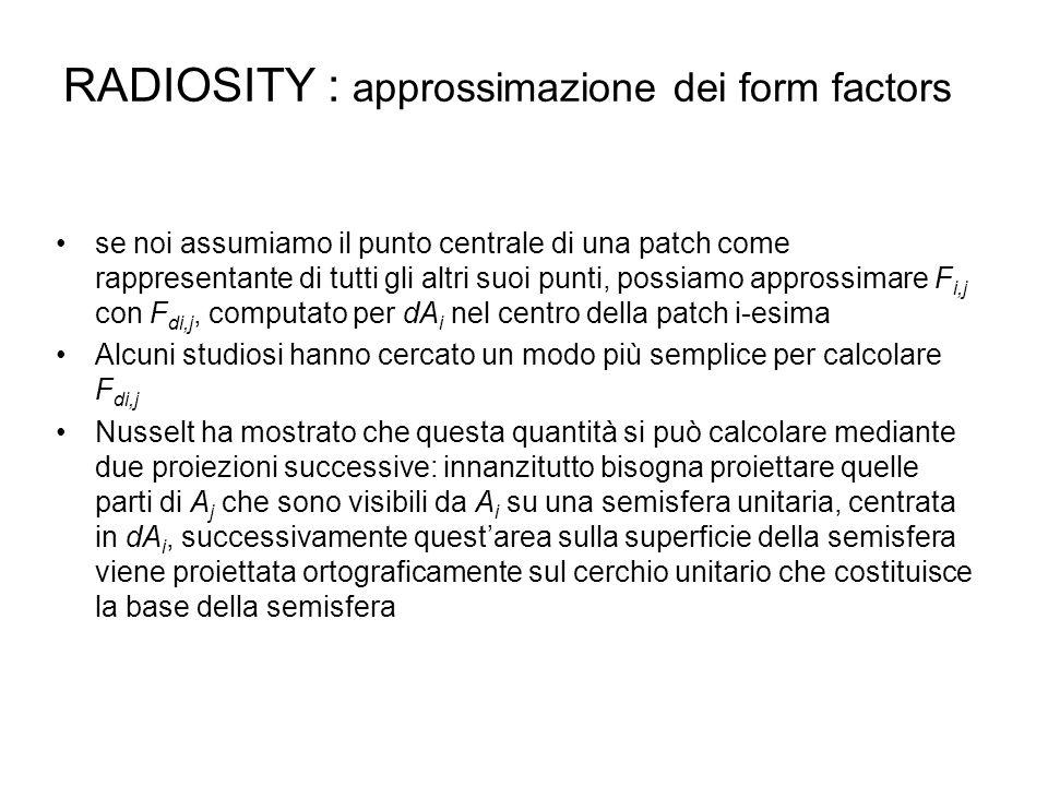 RADIOSITY : approssimazione dei form factors se noi assumiamo il punto centrale di una patch come rappresentante di tutti gli altri suoi punti, possia